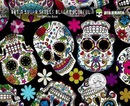 9913d443974 Sugar Skull Black Colorful Day of Dead Girl Woman Skulls hydrographics film  pattern. From Big Brain Graphics Supplier.
