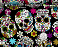 Sugar Skulls Black Colorful Skull Day of Dead Popular Girly Girl Woman Pattern Hydrographics Dip Buy Film Big Brain Graphics NanoChem Yeti White Base Quarter Reference