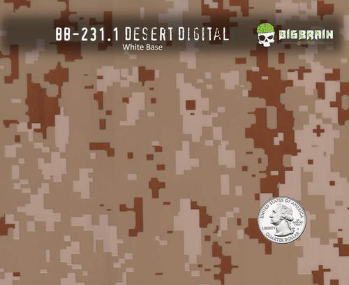 Desert Digital Camo Camouflage Hydrographics Pattern Big Brain Graphics Beige Base Quarter