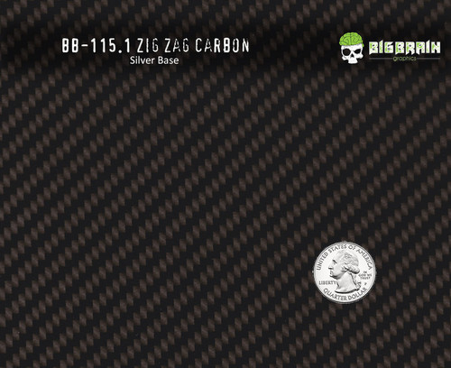 Zig Zag True Carbon Fiber Hydrographics Pattern Big Brain Graphics Silver Base Quarter Reference