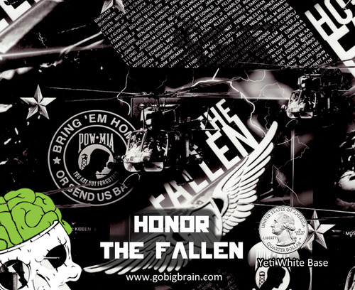 Honor The Fallen POW MIA Military Support Never Forgotten Hydrographics Dip Film Buy Patterns Big Brain Graphics USA Seller NanoChem Yeti White Base Quarter Reference
