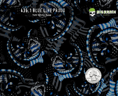 Blue Line Proud Skulls Flags Police Support Public Service Big Brain Graphics Hydrographics Film Supplies Trusted Dip Pattern Buy Film Yeti White Base Quarter Reference