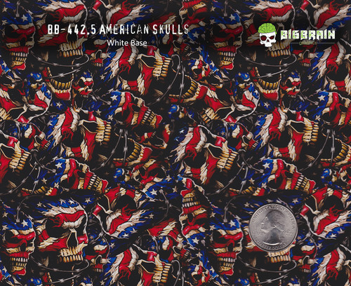 American Skulls Barbed Wire Flags Hydrographics Film Buy Big Brain Graphics White Base Size Reference