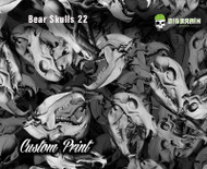 Bear Skulls greyscale Grey Black Clear Black White Custom Hydrographics Animal Hunting Film Hydrographics Printers Seller Vendor Big Brain Graphics