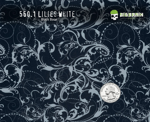 White Lilies Lillies Feminine Floral Swirls Abstract Filigree Damask Flowers Classy Classic Woman Girly Big Brain Graphics NanoChem Paint Big Brain Coatings Pitch Black Base Quarter Reference