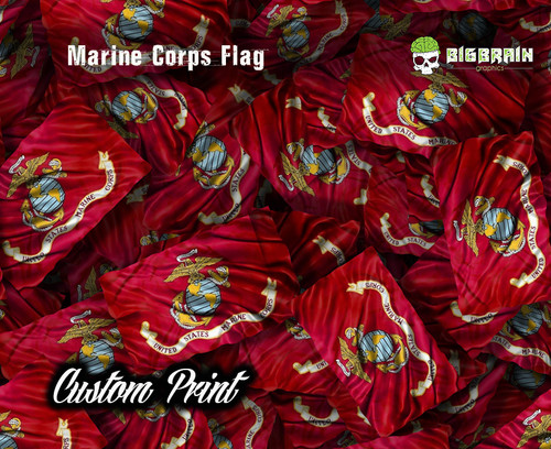 Marine Corps Flag Red Logo American America Armed Forces Hydrographics Custom Printed Film Fractal Camo PatternCrew Big Brain Graphics Film Dip Pattern