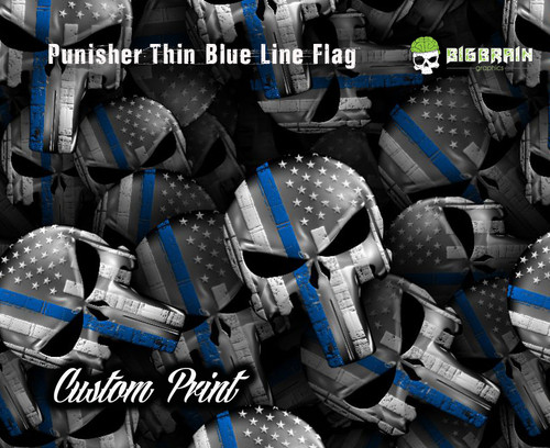 Punisher Skull Blue Line Flag Police Support Officer Pride Custom Hydrographics Dip Film Trusted USA Supplier Big Brain Graphics Yeti White Base