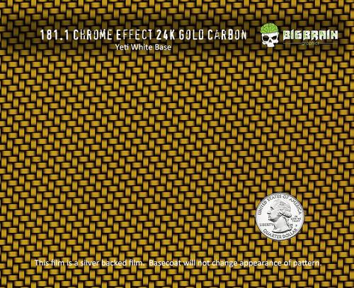 24K Gold Carbon Chrome Effect Reflective Carbon Fiber Hydrographics Film Dip Pattern Yellow NanoChem Yeti White Base Big Brain Graphics Quarter Reference