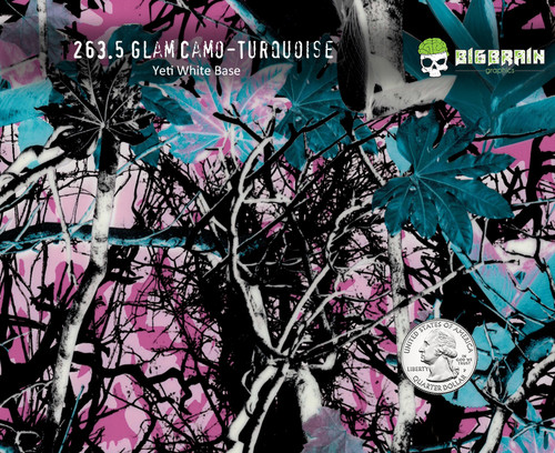 Glam Camo Glamour Camoflauge Muddy Turquoise Green Blue Lady Woman Camoflauge Big Brain Graphics Hydrographics Pattern Film Seller Quarter Reference