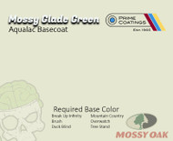 Mossy Oak BaseCoat Prime Coatings Hydrographics Paint Big Brain Coatings Partnership USA Leading Supplier Break Up Infinity Brush Duck Blind Mountain Country Overwatch Tree Stand Base Color Mossy Glade Green