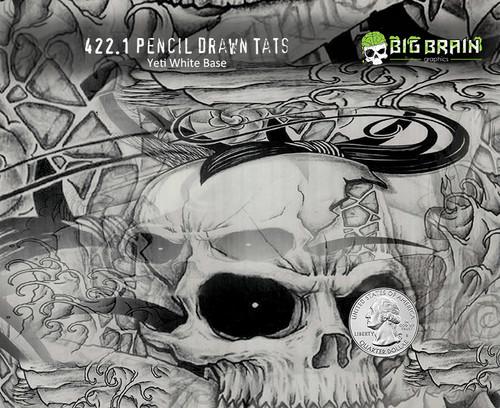 Pencil Drawn Tattoo Tats Skulls Drawings Tattoo Sketch Hydrographics Pattern Dip Film High Quality Trusted Seller Big Brain Graphics Aqualac NanoChem Paint Yeti White Base Quarter Reference