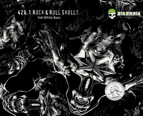 Rock N Roll Rocking Skulls Skull Bitchin Pattern Hydrographics Dip Nanochem Yeti White Base Quarter Reference Big Brain Graphics Trusted USA Seller Popular