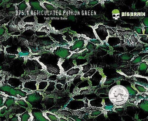 Reticulated Python Green Snakeskin Snake Striking Animal Hydrographics Hydrographic Dip Film Pattern Big Brain Graphics Yeti White Base Quarter Reference