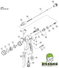 LPH 80 Mini Gravity Spray Gun Paint Gun Parts List Anest Iwata Replacement Parts Pieces Big Brain Graphics Coatings