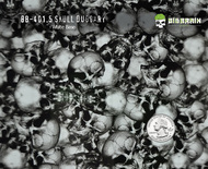 Skull Duggary Highly Detailed Skull Black Clear Hydrographics Film Easy to Dip Big Brain Graphics White Base Quarter Reference