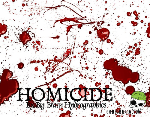 Homicide Blood Splatter Splats Murder Pattern Hydrographics Film Big Brain Graphics Seller White Base