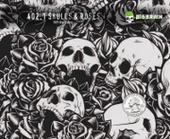 Skulls and Roses Tattoo Hydrographics Film Pattern White Quarter Reference Base Buy Big Brain Graphics
