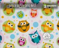 Super Cute Owls Cartoon Pattern White Base Hydrographics Pattern Big Brain Graphics Quarter Reference