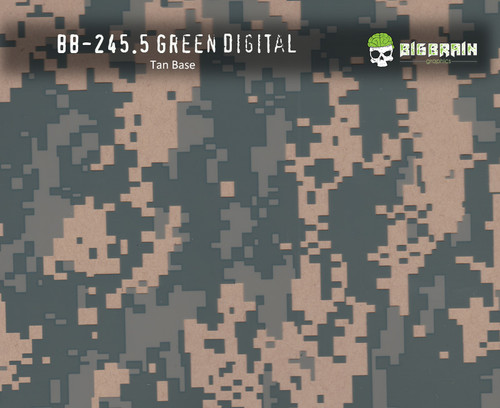 Green Digital Camo Military Hydrographics Pattern Big Brain Graphics Beige Base
