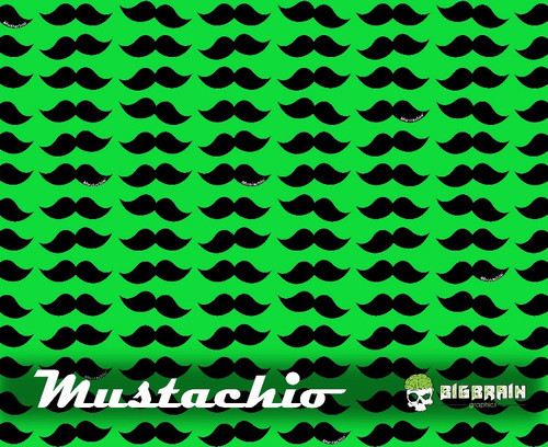 Mustachio Mustache Hydrographics Film Big Brain Graphics Lime Green Base