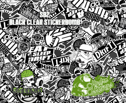Black Clear StickerBomb Sticker Bomb Hydromonkeys UK Big Brain Graphics White Base Big Brain Graphics USA Trusted Seller