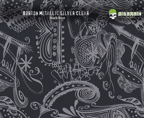 Burton Abstract Metallic Silver Design Hydrographics Film Big Brain Graphics Black with Quarter