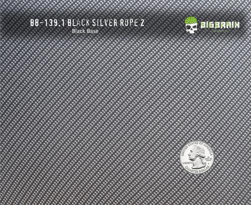 Black Silver Metallic Carbon Fiber Rope 2 Hydrographics Dipping Film Pattern Big Brain Graphics Black Base Quarter Reference