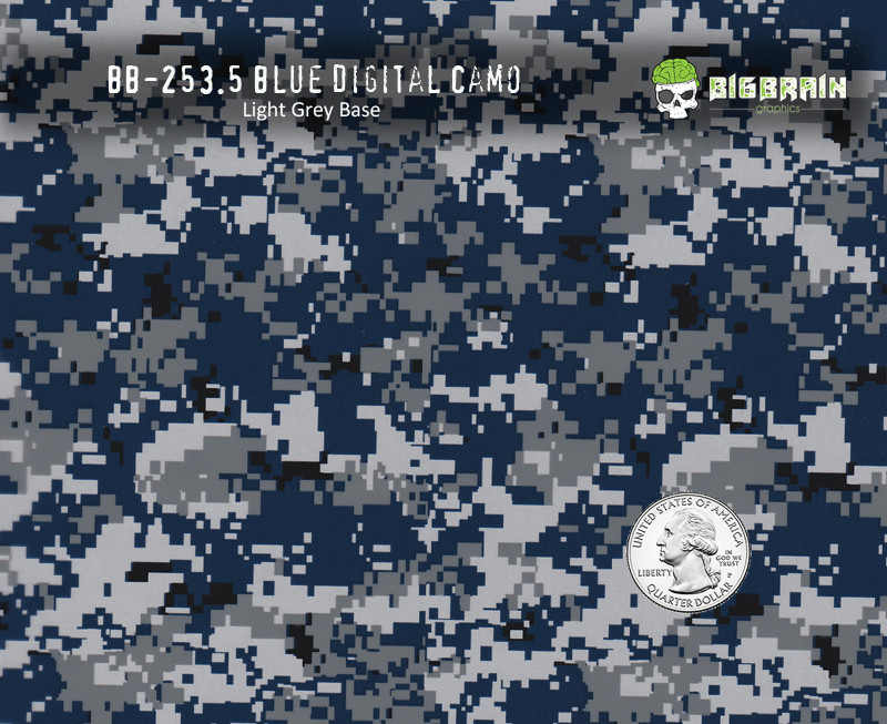 Blue Navy Digital Camo Hydrographics Film Pattern Big