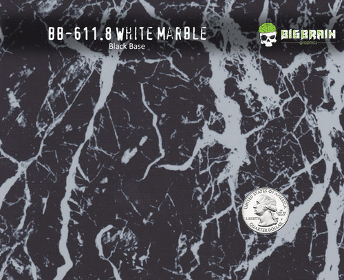 White Marble Stone Versatile Hydrographics Film Pattern Big Brain Graphics Black Base Quarter