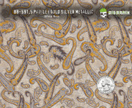 Gold Silver Paisley Detailed Hydrographics Film Pattern Big Brain Graphics White Base Quarter Reference