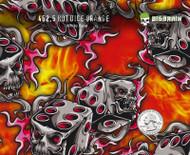 Hot Dice Orange Flames Fire Gambling Hydrographics Pattern Film Big Brain Graphics White Base Quarter
