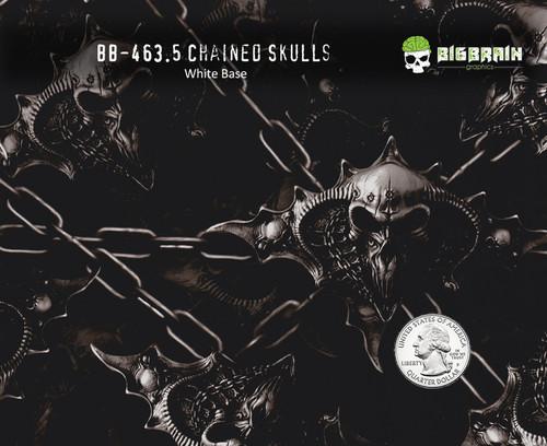 Chained Skulls Chain Hydrographics Film Pattern Big Brain Graphics White Base Quarter