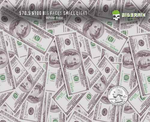 $100 Bills Big Faces Hundred Dollar Bills Hydrographics Big Brain Graphics Film White Base Quarter Reference