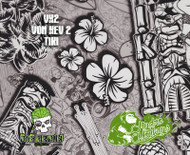 Von Kev Tiki VK2 Hawaii Hawaiian Party Hut Hydromonkeys Hydrographics Film Dip Pattern Big Brain Graphics USA Seller White Base