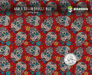 Sugar Skulls Red Colorful Girly Woman Pattern Small Sized Hydrographics Pattern Big Brain Graphics White Base Quarter Reference