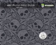 Paisley Silver Metallic Skulls Clear Hydrographics Feminine Skull Pattern Film Big Brain Graphics Black Base Quarter Reference