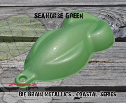 Seahorse Green Beach Coastal Series Big Brain Graphics Beachhouse Metallic Paint