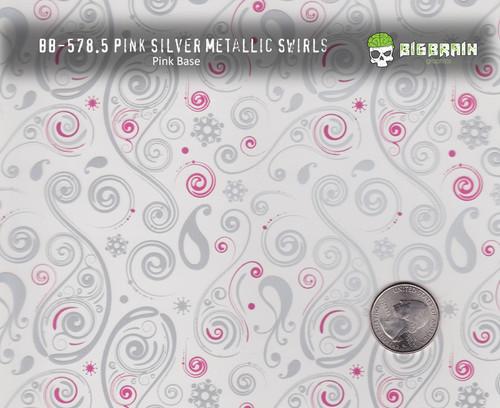 Pink Silver Swirls Swirly Girl Woman Pattern Hydrographics Big Brain Graphics White Base Size Reference