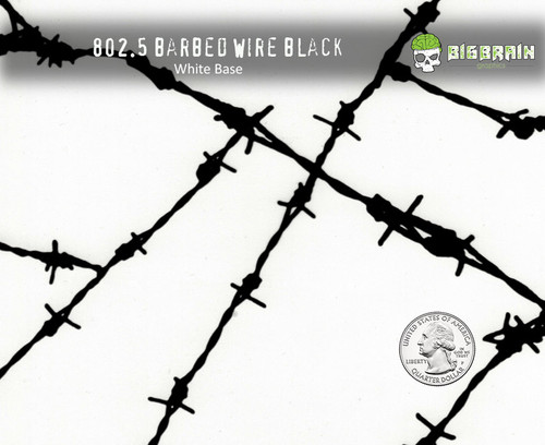 Barbed Wire Barb Wire BobWire Bob Wire Hydrographics Film Black Clear Dipping Film USA Seller Big Brain Graphics Buy White Base Quarter Reference