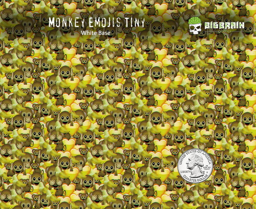Monkey Emojis Tiny Hear Speak See No Evil Hydrographics Pattern Big Brain Graphics Buy Film Seller White Base Quarter Reference