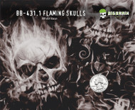 Flaming Skulls Fire Flames Hydrographics Pattern Big Brain Graphics White Base Quarter Reference