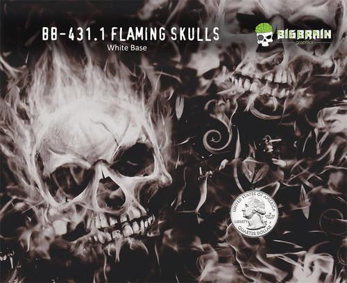Flaming Skulls Flames Pattern Motorcycle Hydrographics Big Brain
