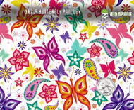 Butterfly Paisley Flower Colorful Girly Girl Woman Hydrographics Film Pattern Big Brain Graphics White Base Quarter Reference