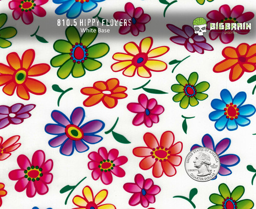 Hippy Hippie Flowers Flower Hydrographics Pattern Film Big Brain Graphics White Base Quarter Reference