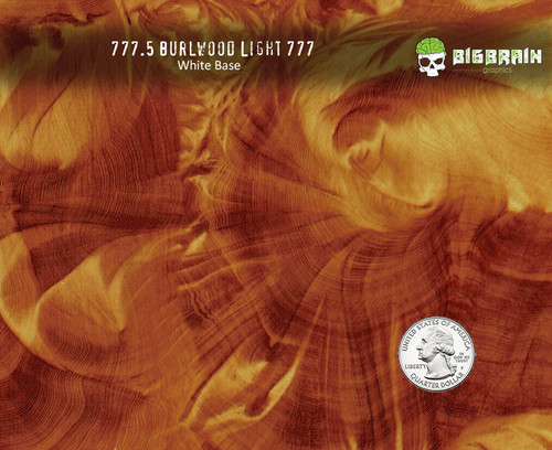Burlwood Woodgrain Wood Medium Real Wood Big Brain Graphics Hydrographics Film Pattern White Base Trusted Seller High Quality USA Quarter Reference