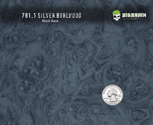 Burlwood Silver Woodgrain Wood Detailed Hydrographics Film Pattern Big Brain Graphics Trusted Seller USA Black Base Quarter Reference