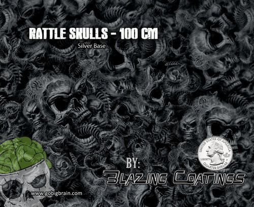 Rattle Skulls Snake Snakes Skull Blazing Coatings Futuristic Nightmare Cool Hydrographics Pattern Trusted US Seller Big Brain Graphics Silver Base Quarter Reference