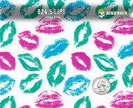 Lips Kisses Sexy Colorful Hydrographics Film Green Pink Red Blue Trusted USA Seller Big Brain Graphics White Base Quarter Reference