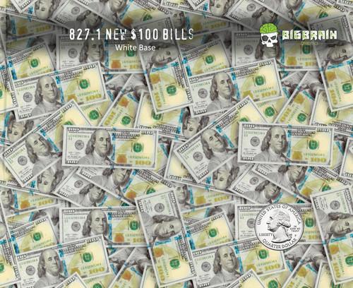 Big Face Hundreds $100 Bills Big Faces Benjamins Hundred Dollar Bills Big Brain Graphics Hydrographics Film Pattern White Base Quarter Reference
