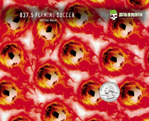 Flaming Soccer Soccerball Ball Sports Fire Kid Hydrographics Pattern Dip Big Brain Graphics Trusted USA Seller White Base Quarter Reference